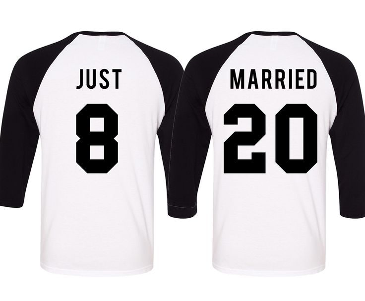 The perfect shirts for the Bride & Groom for the Honeymoon!! This listing is for the set of two baseball tees. Women's Shirt = JUST + (Number) on a White/Black Baseball Tee Men's Shirt = MARRIED + (Nu