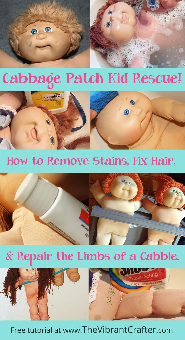 How To Clean a Cabbage Patch Kid Doll: Learn how to give your old Cabbage Patch Kid a spa day following this free before and after tutorial on www.TheVibrantCrafter.com. Let me know how it goes! <3