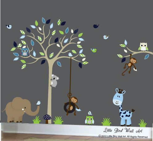 children wall decals tan tree wall decal vinyl decal tree wall navy blue green and beige - Babyzimmer Grn Beige