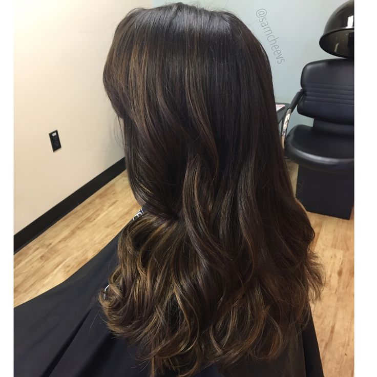 Dark hair with subtle caramel highlights for fall // balayage on dark brown hair