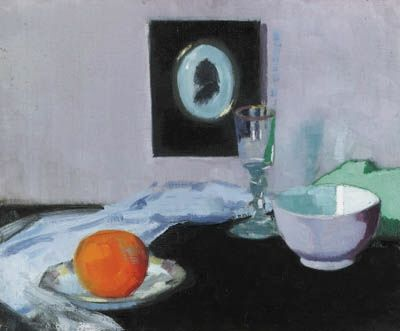 Francis Campbell Boileau Cadell, Still life with glass, orange and silhouette