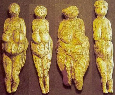 Four small Venus figurines, 20,000 to 21,000 years old, found at Avdeevo, a paleolithic site near Kursk, Russia.