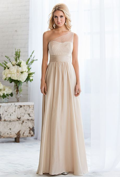 Brides: Belsoie by Jasmine. Elegant Amber Satin Chiffon gown with A-line skirt, gathered natural waist, and  sheer bodice overlay featuring 2,753 hand sewn beads. Also available in tea or knee length.