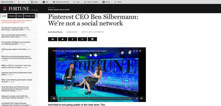 Pinterest CEO Ben Silbermann - We're not a social network - Fortune.com - July 13th, 2015