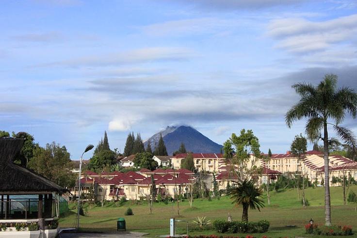 Mount Sinabung in Berastagi, Indonesia -- taken from the Grand Mutiara Hotel --