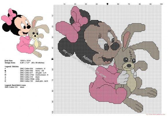 Bébé Minnie avec lapin grille point de croix gratuit
