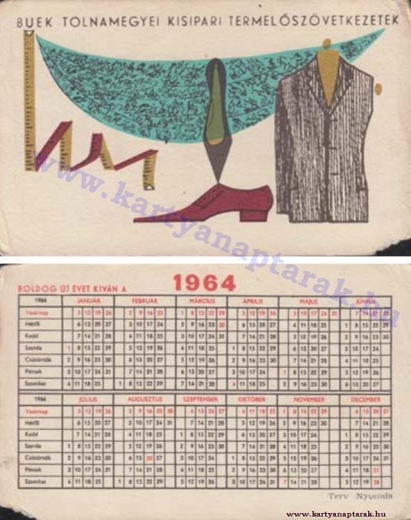 1964 - 1964_0159 - Régi magyar kártyanaptárak