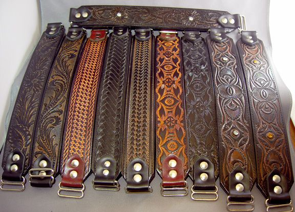LongDog Leather Works - Martingale Dog Collars Also good ideas for wrist bands!