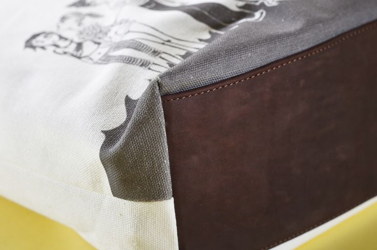 01WARDROBE Autumn/Winter 2013 - White Family Tote Bag, Cow Skin Leather Shoulder Straps // %100 Cotton Canvas bag / Printed bag / İllustrated bag / $69