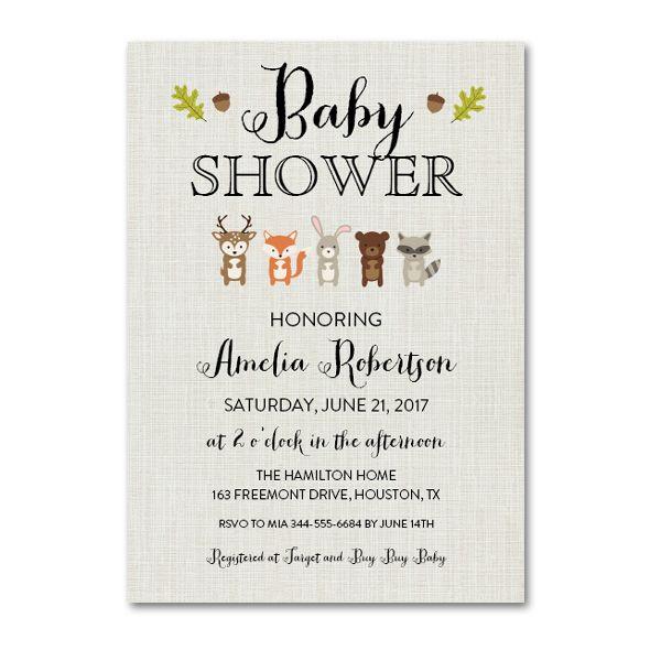 Editable PDF Baby Shower Invitation DIY - Rustic Woodland Animals - Instant Download Printable- Edit in Adobe Reader