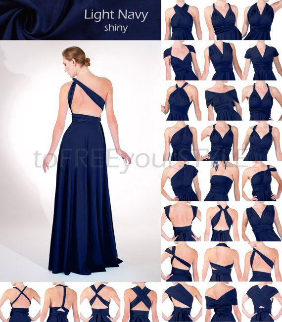 Long infinity dress in LIGHT NAVY blue shiny, FULL Free-Style Dress ...