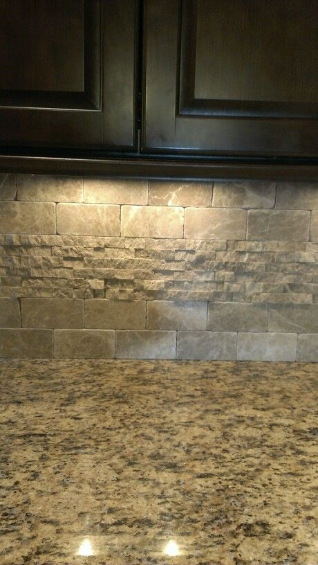 Backsplash with my similar colored cabinets and countertops.