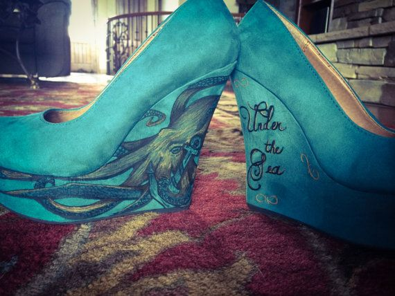 Teal Wedges - high (4 in.) size 6.5-7 - with Customized Octopus