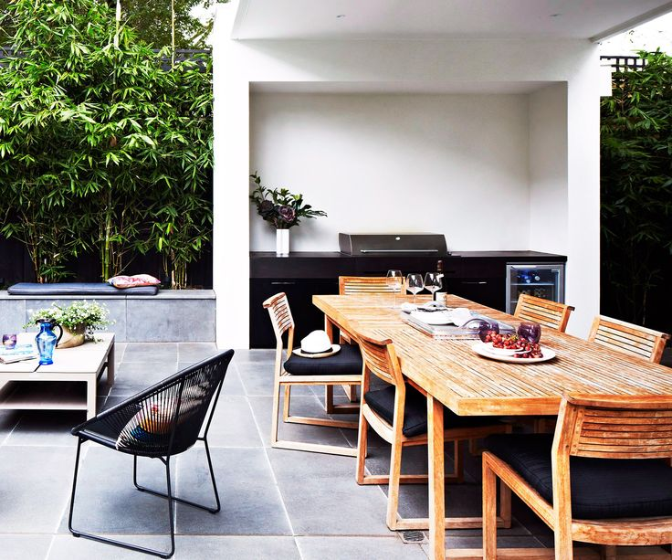 """Don't forget your outdoor kitchen if you think black is where it's at. This one looks just as good when the sun goes down. Learn more about [outdoor lighting](http://www.homestolove.com.au/an-illuminating-guide-to-outdoor-lighting-1895/?utm_campaign=supplier/