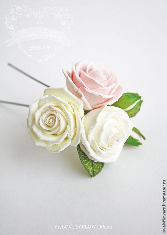 Розы из полимерной глины в прическу. - Lovely  Flowers LAB  Юлия Шепелева - Ярмарка Мастеров http://www.livemaster.ru/item/5056309-svadebnyj-salon-rozy-iz-polimernoj-gliny-v