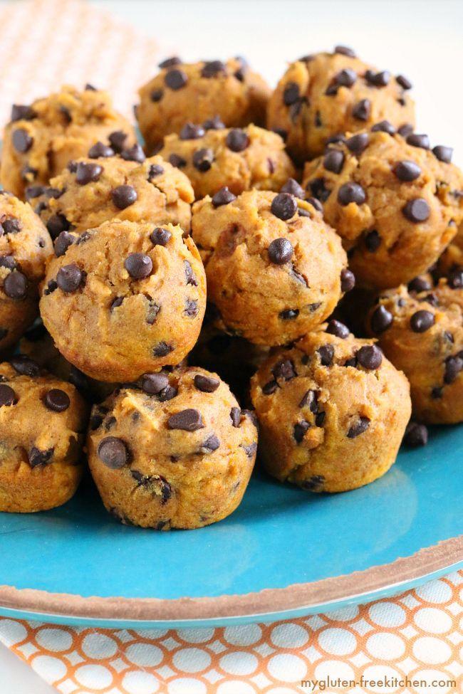 Gluten-free Dairy-free Pumpkin Chocolate Chip Mini-Muffins. Nut-free too!