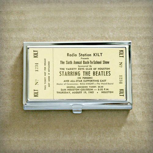 Vintage Beatles Concert Ticket Business Card Case