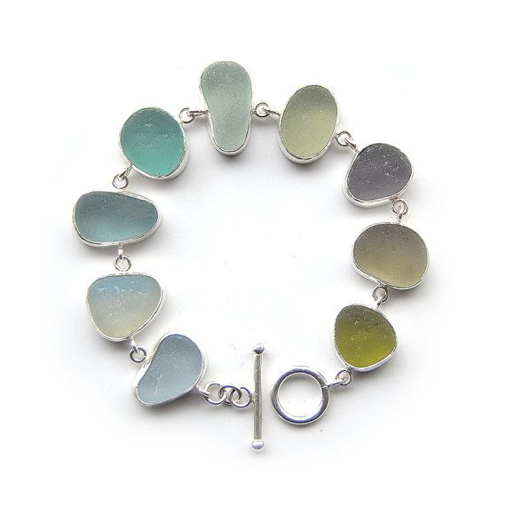 Winter shades pastel Sea Glass Bracelet bezel set sterling silver
