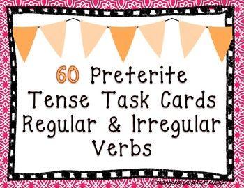 Preterite Regular & Irregular Verbs Task Cards Spanish el ...