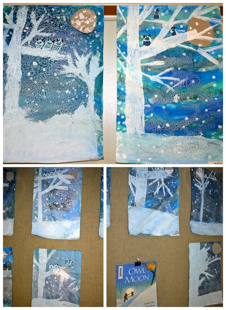 owl moon watercolor landscapes. from the colors of my day blog.