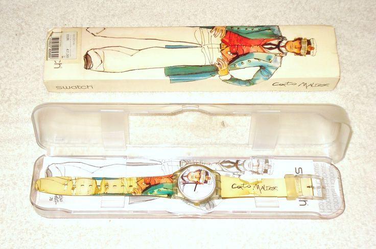 16,00€ · Reloj Swatch SUJZ106 Corto Maltés · Reloj analógico de muñeca Swatch, mod.SUJZ106, diámetro de caja 34 mm y grosor 12 mm, peso 23 gramos, cubierta del dial de plástico, correo de plástico con ilustraciones multicolor dedicadas al personaje Corto Maltés, protección water resist y pila de cuarzo 377 SR626SW [agotada, hay que substituirla], con documentación, caja y embalaje original. Fue adquirido por 47,00 euros. Se ha usado y la correa está bastante degradada [habría que cambiarla…