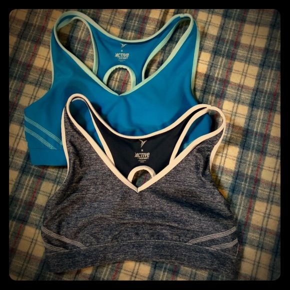 Bundle of 2 Old Navy Sports Bras! Bundle of 2 Old Navy Sports Bras!  Good used condition. These will only include one pair of the padding inserts but they are identical so they can be used in both interchangeably. (Or not at all - I personally hate those things!)  These just don't fit me as snug as I prefer (34a - so best for someone larger than that). Old Navy Intimates & Sleepwear Bras