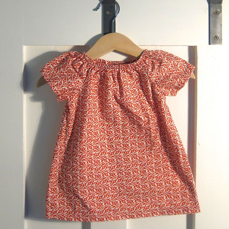 0-3 mth old size peasant blouse made from free pattern on ravelry