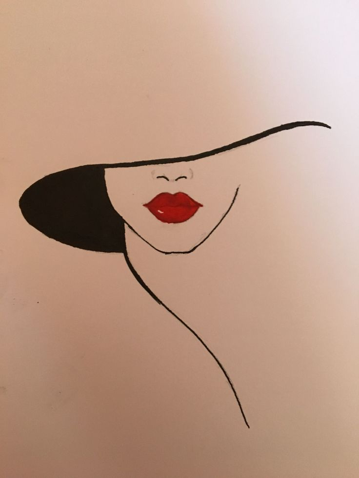 Hat and red lips #LipPencilNatural – #Hat #LipPencilNatural #lips #red