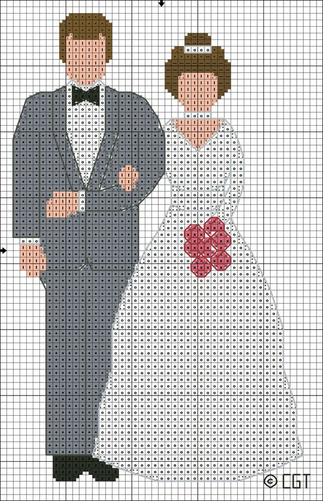 Stitch this Bride and Groom Cross Stitch pattern for a special couple adapting the colors as needed to reflect the wedding ceremony.