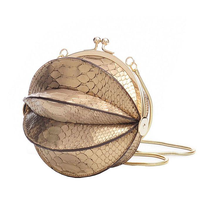 Sac boule python en cuir or - Jean Paul Gaultier - Brandalley
