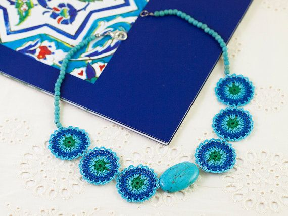 Blue Crochet Lace Necklace - Statement Necklace - Turquoise Gemstone - Fiber Art Jewelry - Ottoman Tile