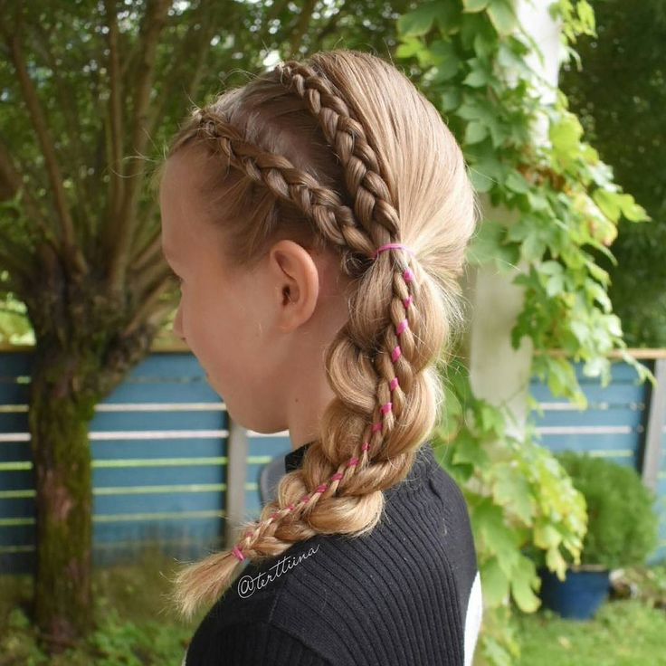 Braids & Hair by @terttiina Instagram: Two dutch braids into stacked four strand ribbon braid!