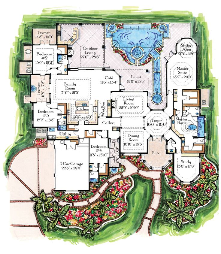 Best Floor Plans House Plans Images On Pinterest - Floor plans for luxury homes