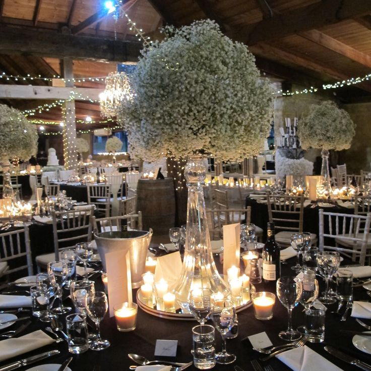 Ball of baby's breath for guest table with votive candles surrounding it