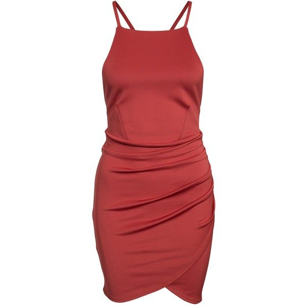 Nly One Cross Strap Mini Dress ($51) ❤ liked on Polyvore featuring dresses, party dresses, rust, womens-fashion, bodycon mini dress, red pleated dress, red bodycon dress, cross dress and tall dresses