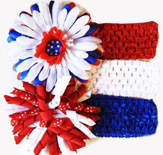 5pc 4th of July Patriotic Little Girls Crochet Headband Gift Set Baby Girls 4th of July Hair Flowers Hair Bows Hairbows Korker Bows Crochet by BabyGirlTutus on Etsy