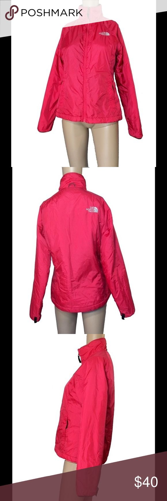 """North Face hot pink zip up jacket North Face hot pink zip up jacket.  Pockets on either side of the jacket and one on the interior.  Size S/P - fits more like a size medium.  Filling on the interior of the jacket.  White North Face embroidery on both the front and the back of the jacket.  Mannequin measurements:  height - 5'8  Bust - 32""""  waist - 24.5  hips - 32"""" North Face Jackets & Coats"""