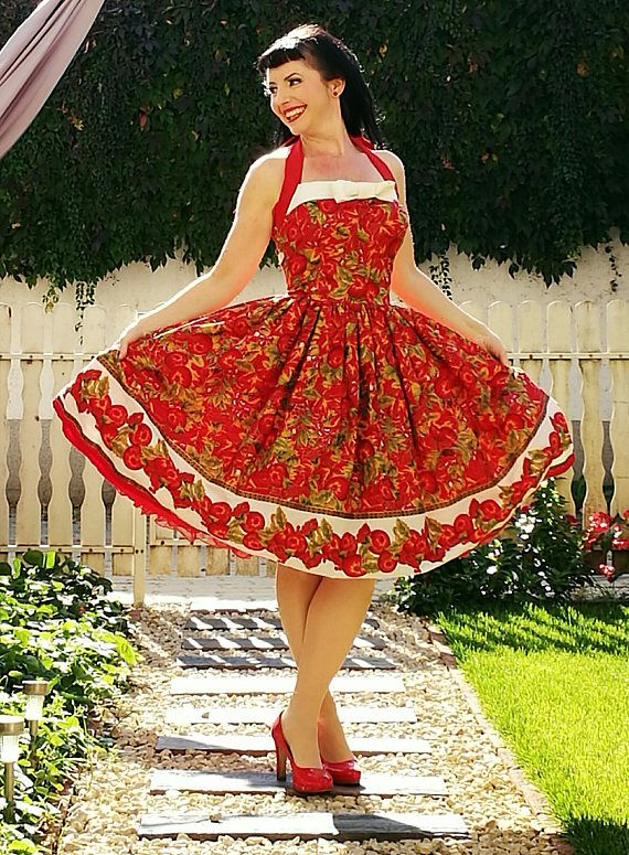 Hey, I found this really awesome Etsy listing at https://www.etsy.com/listing/564345999/pinup-dress-holiday-apples-gilded