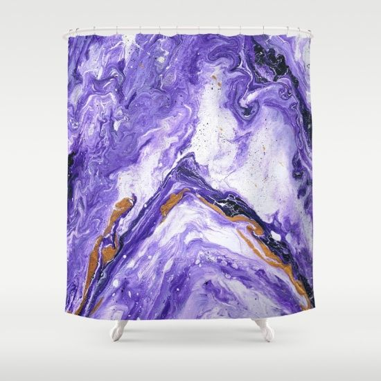 Buy Shower Curtains featuring Chevron Amethyst 1 by Monika Jean. Made from 100% easy care polyester our designer shower curtains are printed in the USA and feature a 12 button-hole top for simple hanging.