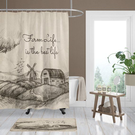 Farm Life Shower Curtain Rustic Primitive Bath Mat Bath Towels