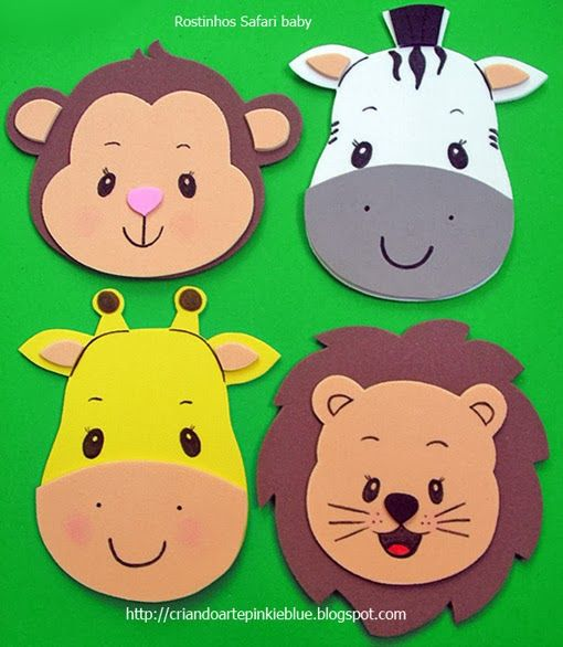 Pinkie Blue Artigos para festa: Carinhas bichinhos safari baby