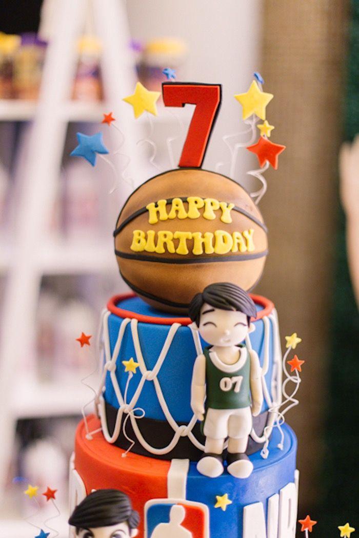 Phenomenal Nba Basketball Birthday Party With Images Basketball Birthday Funny Birthday Cards Online Benoljebrpdamsfinfo