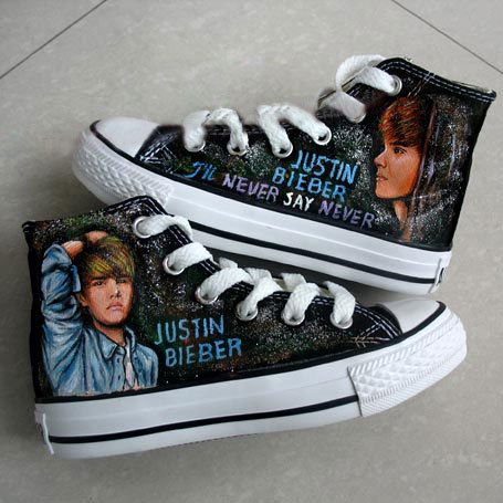 Justin Bieber's Albums Themed Hand Painted High-top Shoes- Four Themes   HandPaintedShoes - Clothing on ArtFire