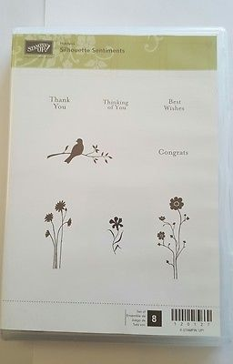 Stampin' Up *SILHOUETTE SENTIMENTS* 8 pc Clear Mount. Hostess Edition. NEW