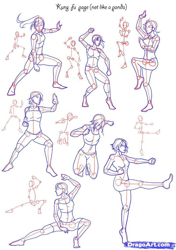 Character Design Tutorial Free : How to draw anime poses fighting step