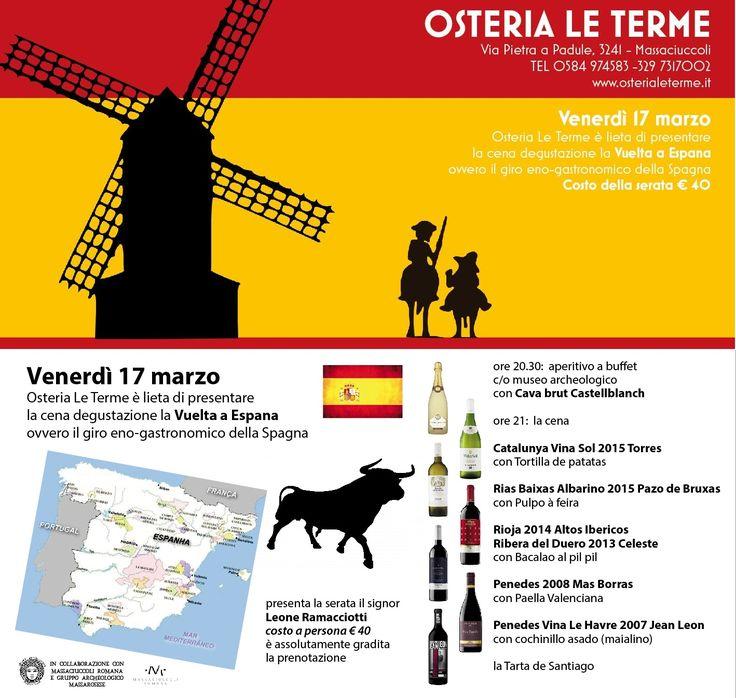 Vuelta a Espana cena degustazione da Ristorante Pizzeria Enoteca Osteria Le Terme a Massaciuccoli, Massarosa