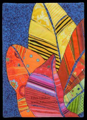 Croton Leaves, an art quilt by Ellen Lindner, AdventureQuilter.com