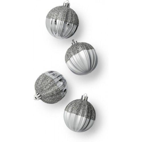 Joulupallo, kimalle, Ø6cm, 4kpl:n pakkaus, hopea