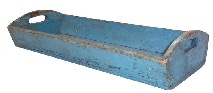 Awesome old long rectangular tray with blue paint. <3