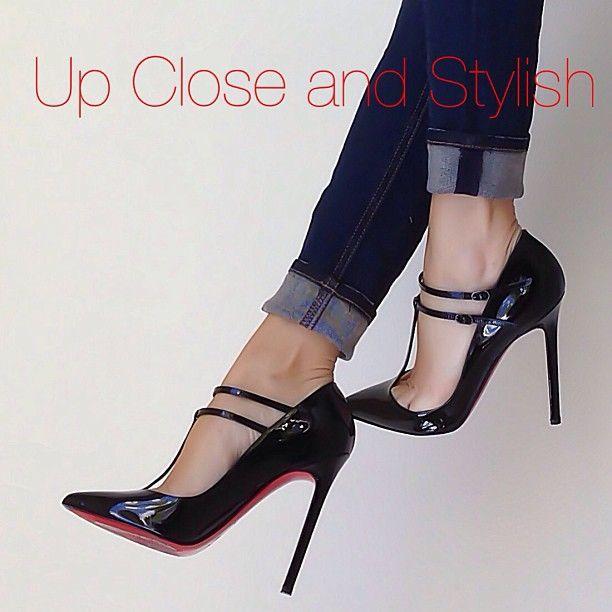 #Louboutin V-neck 120mm, today's shoes. - @upcloseandstylish- #webstagram
